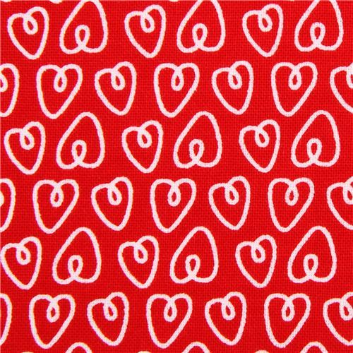red Petite Hearts heart love fabric Michael Miller Petite Paris