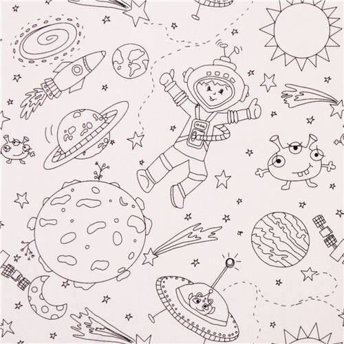 coloring fabric with astronaut star moon rocket Michael Miller
