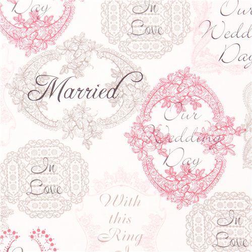 Michael Miller fabric Mr. & Mrs. wedding flowers