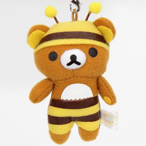 Rilakkuma plush cellphone charm brown bear bee