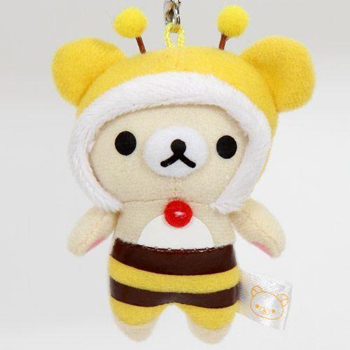 Rilakkuma plush cellphone charm white bear bee