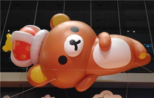 Above the exhibition area there is a gigantic inflatable Rilakkuma