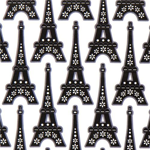 white Eiffel tower laminate designer fabric from the USA