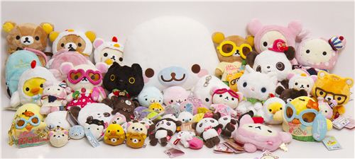 We have a huge selection of plush toys with Rilakkuma, Mamegoma and all the other San-X characters