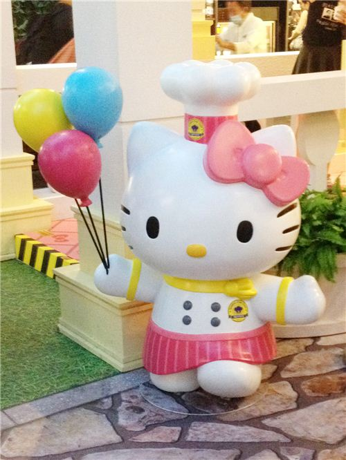 Hello Kitty looks super adorable with the balloons and the chef's hat