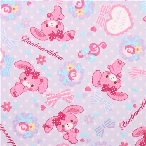 blue Bonbonribbon bunny dots bows Sanrio oxford fabric from Japan