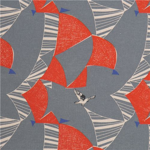 echino grey-blue canvas laminate fabric orange triangle bird from Japan