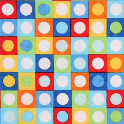 blue lime green colorful square circle fabric Bot Dot by Michael Miller USA