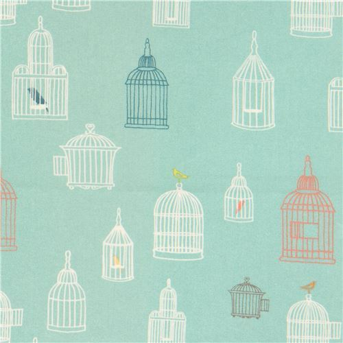 green with bird cage silhouette organic fabric by birch from the USA