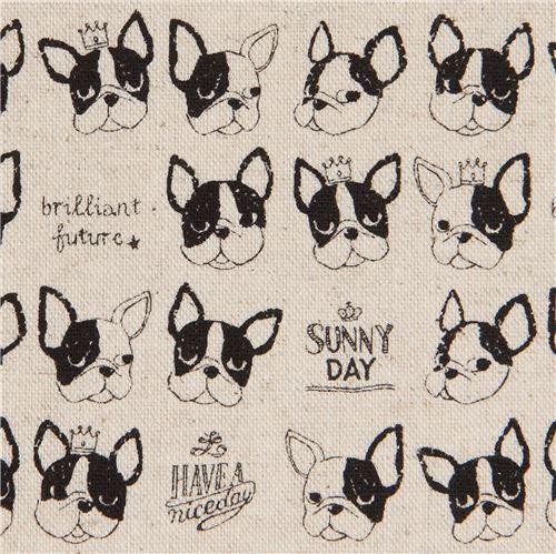 French bulldog natural color canvas fabric by Kokka