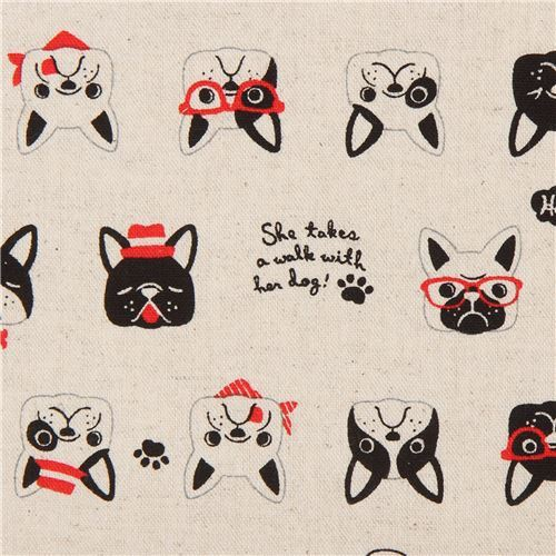 natural color French Bulldog canvas fabric by Cosmo