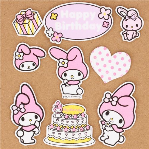 My Melody Happy Birthday sponge sticker sack