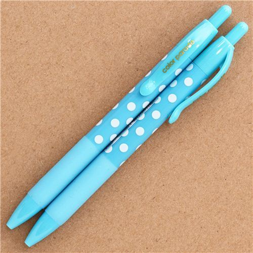blue polka dot ballpoint pen by Kamio