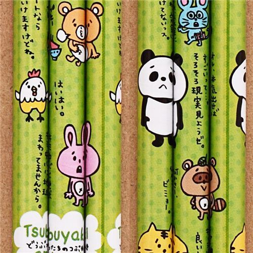 green rabbit cat panda animal pencil from Japan