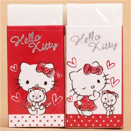 red-white Hello Kitty cat eraser from Japan