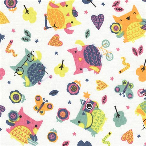 white funny owl bird butterfly heart tree fabric by Timeless Treasures