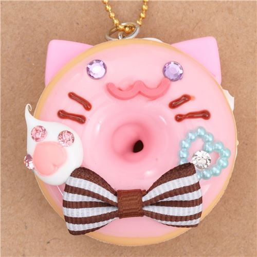 pink icing cat face brown bow donut dessert figure from Japan