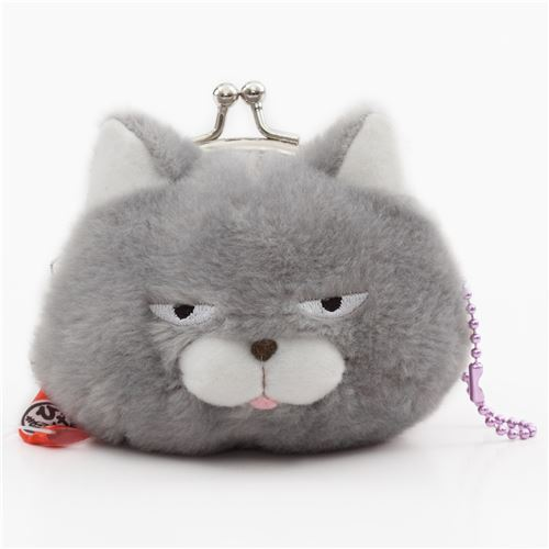 soft funny grey cat plush Manjyu purse wallet from Japan