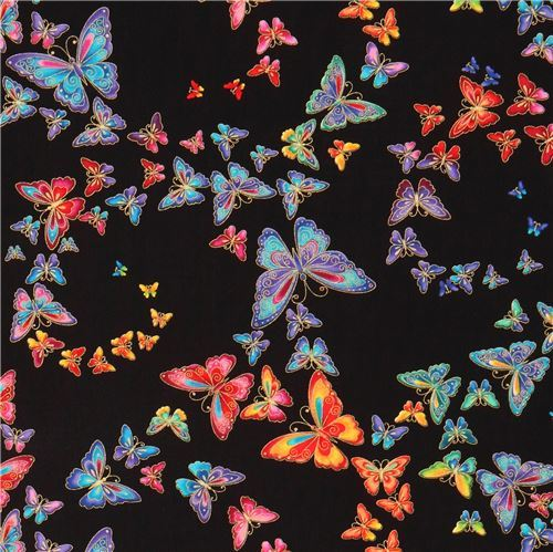 black gold metallic colorful butterfly fabric by Timeless Treasures