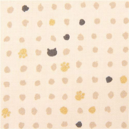 cream mini cat face paw fabric with gold metallic embellishment from Japan