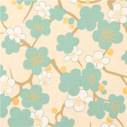 cream turquoise white Asia blossom flower fabric with gold metallic from Japan