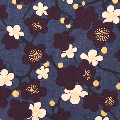 dark blue purple cream Asia blossom flower fabric with gold metallic from Japan