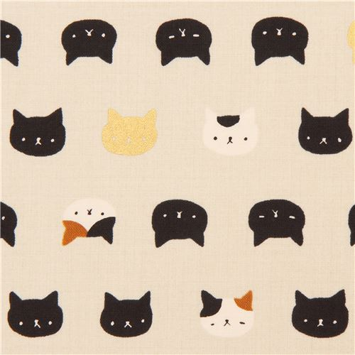grey-cream cute cat face fabric with gold metallic embellishment from Japan