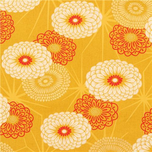 mustard yellow fabric big flower with gold metallic embellishment from Japan