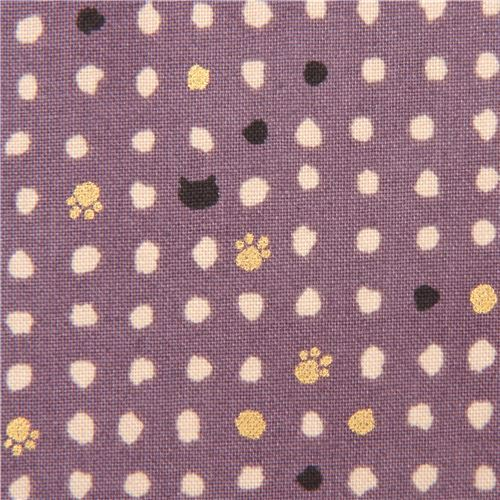 purple mini cat face paw fabric with gold metallic embellishment from Japan