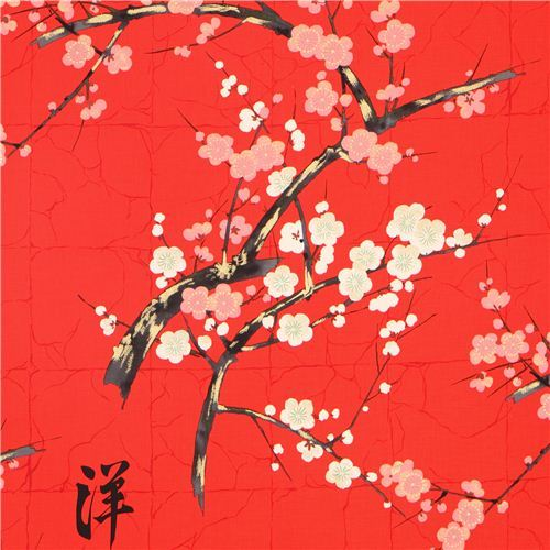 red Alexander Henry Japanese flower fabric with gold