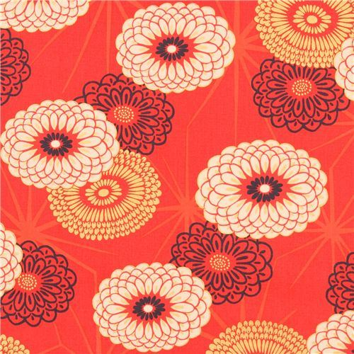 red fabric big flower with gold metallic embellishment from Japan