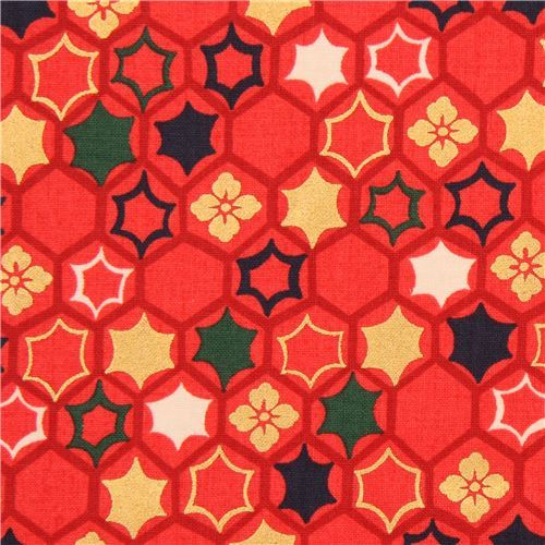 red flower hexagon star burst fabric with gold metallic from Japan