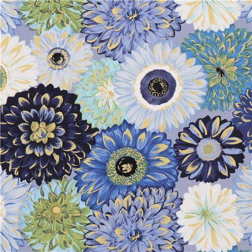 blue green white flower fabric gold metallic embellishment by Michael Miller