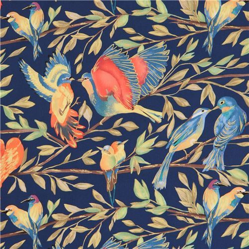 dark blue colorful bird fabric gold metallic embellishment by Michael Miller