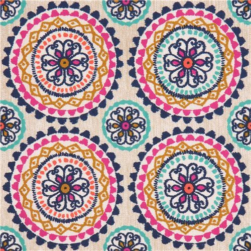 light brown fabric green dark blue magenta flower by Michael Miller