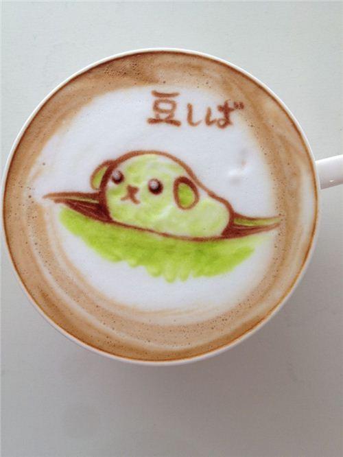 Pretty elaborate: Mameshiba coffee art by Nowtoo on onotakumode.com