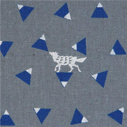 grey echino canvas fabric with shape silver metallic Triangle