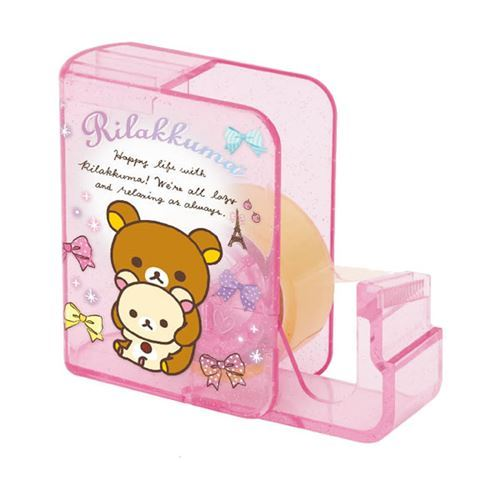 cute pink glitter Rilakkuma adhesive tape dispenser by San-X
