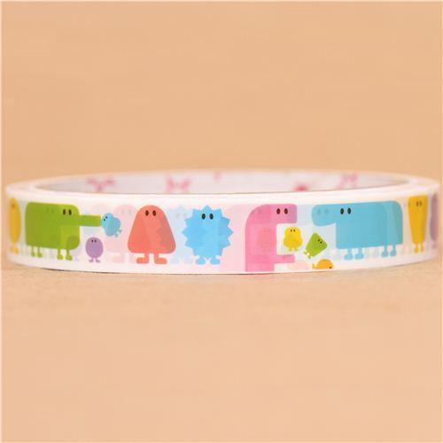 white monster animal deco tape sticky tape funny characters