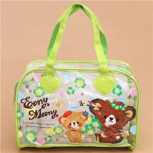 cute cloverleaf bears spring plastic glitter bag from Japan
