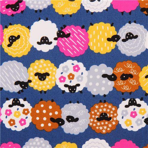 dark blue sheep animal oxford fabric Cosmo Japan