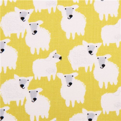 lime green farm animal sheep fabric Farm Friends by StudioE