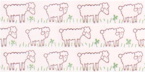 white sheep cloverleaf Washi Masking Tape deco tape Shinzi Katoh Japan