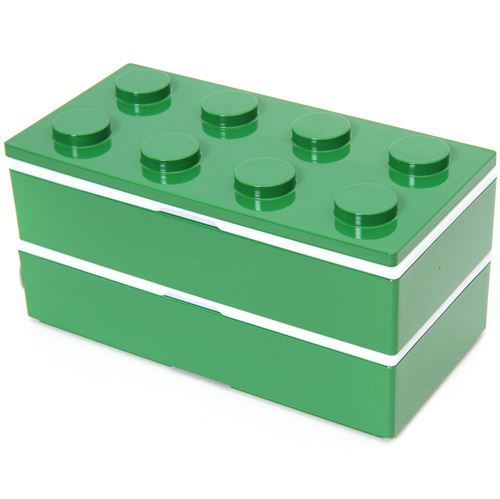 big funny green building block Bento Box from Japan