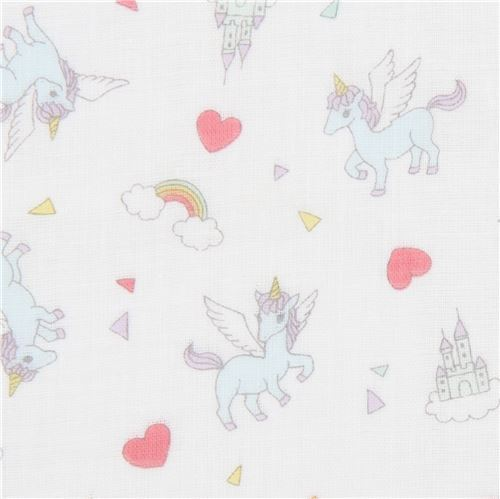 off-white Kokka double gauze unicorn animal castle heart fabric from Japan