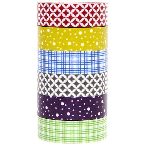 mt Washi Masking Tape deco tape set 6pcs with patterns