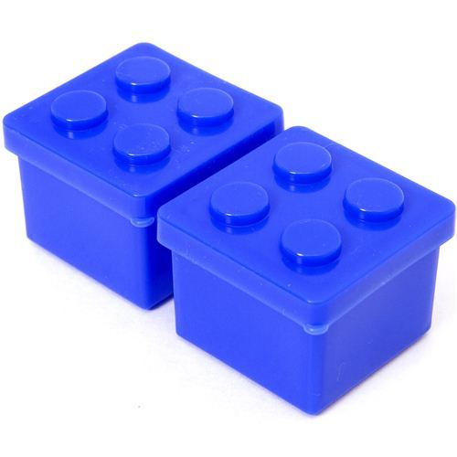 2 blue building block sauce container for Bento Box