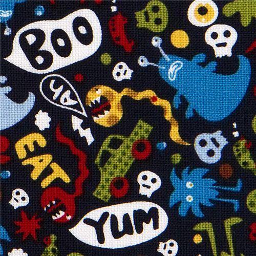 Michael Miller fabric Don't eat me skulls monsters