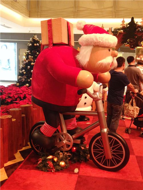 Santa Claus on a bike