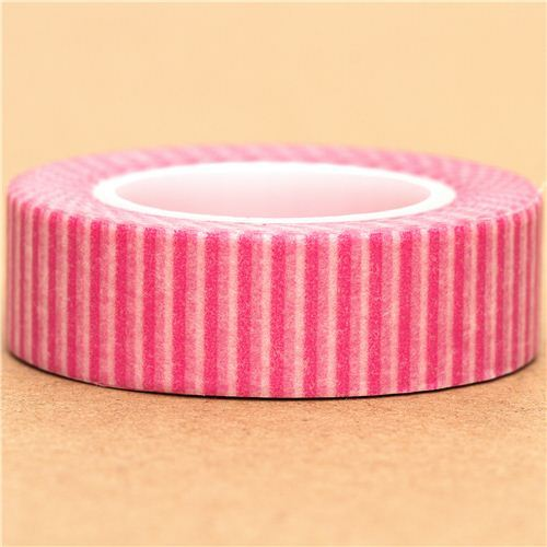 white Washi Masking Tape deco tape pink stripes